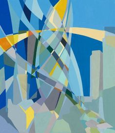 ARTFINDER: The Gherkin by Paola Minekov - The Gherkin is an iconic symbol of London's skyline. It has fascinated me since the moment I first saw it. In this abstract painting I've depicted it's futur...