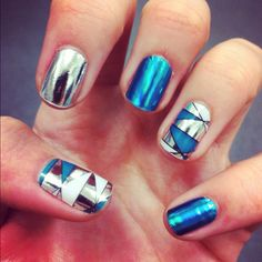 Blue and Sliver Minx Nails