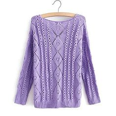Funshop Woman's Geometric Knit Round Neck Sweater 080848 Color Purple Size L