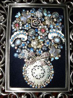 Unique Framed Vintage Jewelry Art Flower Vase by JewelArtbyLinda
