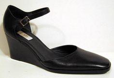 Ann Taylor LOFT Black Leather Ankle Strap Wedge Heels Size 7.5M #AnnTaylorLoft #PlatformsampWedges