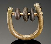 Abacus ring: Bronze Clay, red brass, czs and river rocks