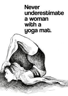 Motivational yoga quote, black and white yoga drawing, yogini, yoga gift, yoga…