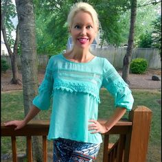 Beautiful mint crochet hi lo blouse! ⚡️⚡️⚡️ Stunning spring/summer color- intricate crochet detail around garment- 3qtr princess sleeves! Lovely!  Follow me on Instagram @kfab333 for more items😊 Tops Blouses