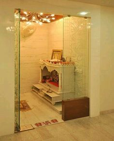 [ Pooja Room Designs In Hall Pooja Room Home Temple ] - Best Free Home Design Idea & Inspiration Temple Design For Home, Home Temple, Temple Room, Mandir Design, Pooja Room Door Design, Puja Room, Prayer Room, Indian Home Decor, Room Doors
