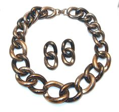 Haute Couture Runway Chunk Chain Link Necklace and Earring Set sale $24 from banglesandbeadsonline.com