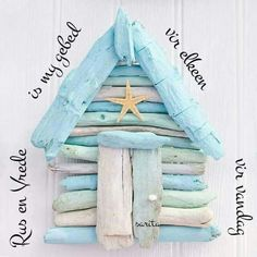 Driftwood Beach hut by Driftwood Dreaming, love the colours Driftwood Beach, Driftwood Art, Beach Crafts, Diy And Crafts, Driftwood Projects, Beach Signs, Shell Crafts, Beach Art, Beach Huts Art