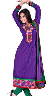 Indian Traditional Purple Cotton Anarkali Dresses, Dress