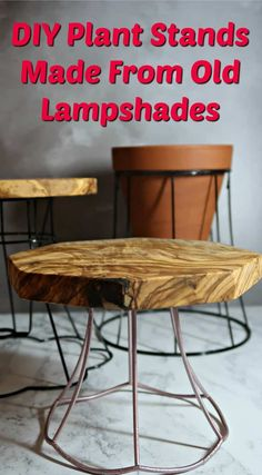 I show you how to upcycle vintage lampshade frames into gorgeous industrial style plant stands that will look fab in any interior. stand How to Upcycle Wire Lampshade Frames into Plant Stands Vintage Upcycling, Upcycled Vintage, Upcycled Crafts, Diy And Crafts, Repurposed Wood, Modern Plant Stand, Wood Plant Stand, Plant Stands, Wood Projects