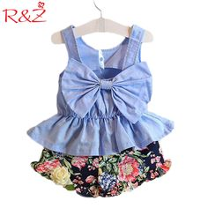 Gril Dress Fashion Summer bow vest +flower pant baby clothing 2 pcs suit girls clothing casual dress girl #Affiliate
