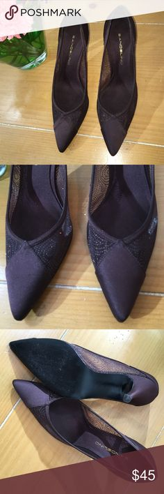 "BANDOLINO BROWN evening heels the holidays and special events are coming up soon... Oh what to wear???  shoes always complete the look...attitude...statement..:these are perfect... Brown...Just enough sparkle with satin accents... Great condition, gently worn,..  Heel 3"" BANOLINO Shoes Heels"