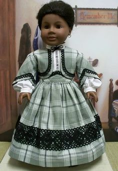 1864 3pc. outfit for Addy in dusty green, black, via Flickr. Keepersdollyduds