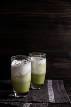 Iced Matcha Coconut Latte. Perfect to sip on for #StPatricksDay!   via Pastry Affair
