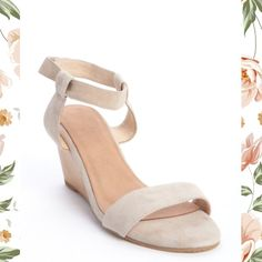 """Madison Harding Nude Suede 'Sogo' Wooden Wedges Glamorous and trendy, with a 3"""" curved wooden heel and super soft suede, these are ultimate shoe luxury. Ankle strap has fastening tape closure and lining is leather.    Never worn, New without tags. Madison Harding Shoes"""