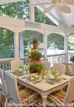 Springtime Table Setting with Ma Maison and a Tiered Planter Centerpiece