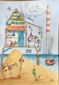 How to be at the beach house right now? Painting & Drawing, Watercolor Paintings, Watercolours, Wal Art, Beach Watercolor, Guache, Happy Paintings, Watercolor Illustration, Watercolor Journal