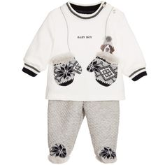Lapin House - Boys Ivory Fleece Cotton 2 Piece Babygrow | Childrensalon