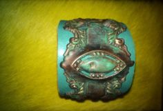 Vintage antique OOAK escutcheon turquoise leather metal cuff patina boho hippie chic on Etsy, $58.00