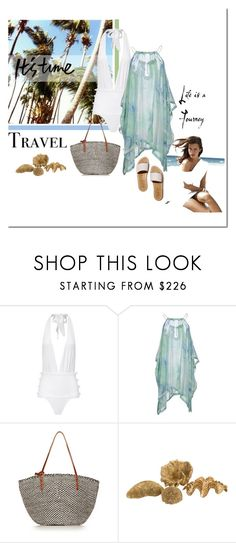 """""""Going to the Beach"""" by elena-777s ❤ liked on Polyvore featuring Marysia Swim, Gattinoni, Clare V., Couture Lamps, springsummer2015 and caftanstyle"""