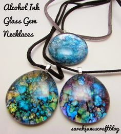 Alcohol Ink Glass Gem Necklaces