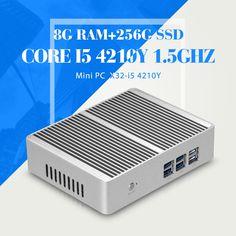 (164.00$)  Buy here  - XCY Mini Computer Core I5 4210Y 8G RAM 256G SSD WIFI 6 USB RJ45 HDMI HTPC PC Industrial Mini PC Computer Desktop Computer
