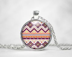 Orange Red White Aztec Tribal Pendant Round Charm Necklace Custom Silver Plated Jewelry