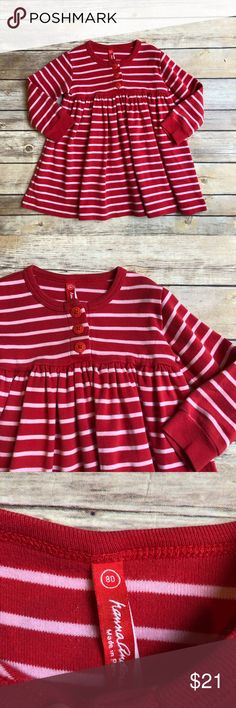 Hanna Andersson Dress Size 80 (older style so equivalent to a 2) Hanna Andersson red and pink striped play dress in excellent used condition.  Soft, thick cotton dress with 3 button detail at the chest. Hanna Andersson Dresses Casual