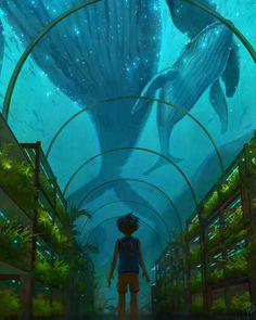 Encounter in the Greenhouse by TamberElla Digital 2020 Sea Creatures, Aesthetic Art, Location History, Fantasy Art, Concept Art, Scenery, Illustration Art, Vacation, Digital