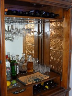converted armoire to bar - Google Search