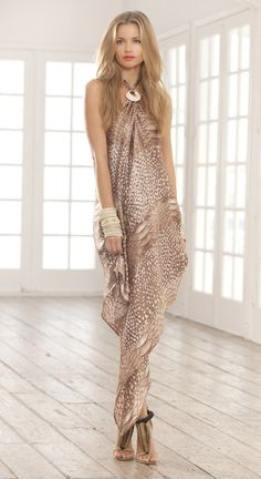 Gorgeous nude, patterned maxi dress