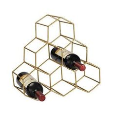 "This novel wine rack is designed as a honeycomb structure to neatly and securely store bottles. Features: Item Collection: Wine Rack Item Finish: Gold Dimensions: Overall Dimensions: 14 """"H x 6 """"W x"