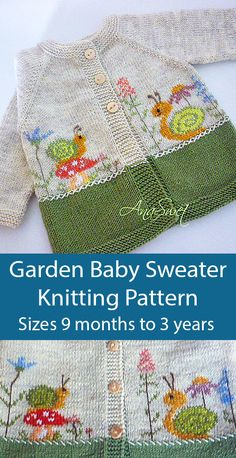 Knitting Pattern for Garden Baby Sweater Knitting Pattern for Garden Baby Sweater,Baby und Kinderkleidung Related posts: activities Paper roll panda craft - zoo animal craft for kids - CrochetMake a Hoodie - Sew a. Animal Knitting Patterns, Baby Cardigan Knitting Pattern, Baby Patterns, Crochet Patterns, Baby Sweater Patterns, Knitting For Kids, Easy Knitting, Knitting Projects, Knitting Ideas