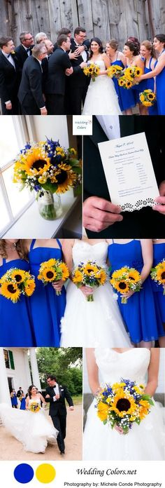 Cobalt Blue & Sunny Yellow Wedding Palette love the colors cause my girls won't wear yellow