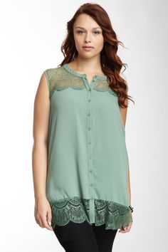 Pleione Lace Trim Blouse by Pleione on @HauteLook