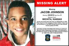 JACOB JOHNSON, Age Now: 6, Missing: 09/06/2016. Missing From WICHITA, KS. ANYONE HAVING INFORMATION SHOULD CONTACT: Wichita Police Department (Kansas) 1-316-268-4220.