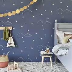 Starry Sky by Hibou Home - Indigo - Wallpaper : Wallpaper Direct