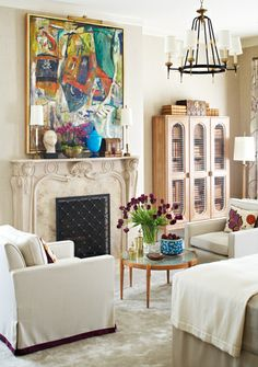 Matt Murphy for SF Decorator Showcase 2012 - guest suite in a Pacific Palisades mansion - 1960 painting by Paul Burlin, mix of vintage Tommi Parzinger tables, lamps, and cerused fir bookcase with pieces designed by Murphy.