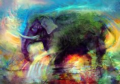 Emerald Green Elephant - brush practicing by pastelAurora.deviantart.com