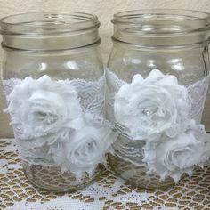 Set of 10 Lace QUART Mason Jar wraps Wedding by ElianasTreasures
