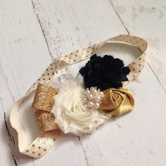 Cream, black, gold baby headband-christmas headband-New Years Eve-special occasion, birthday party-photography prop on Etsy, $14.00