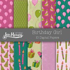 Birthday Girl Digital Paper Pack #digitalscrapbooking
