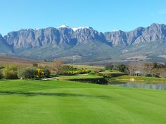 Helderberg from Erinvale Estate Golf Course. A top 20 golf course in South Africa and and exclusive golf estate within the suburbs of Somerset West.
