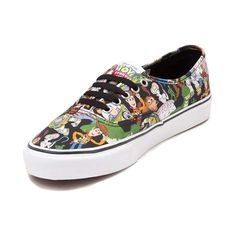 "Toy Story Skate Shoes from Vans! These playful Authentic Toy Story Skate Shoes feature a collage of your favorite Toy Story characters printed on a sturdy canvas upper, complete with an ""ANDY"" signature print on the vulcanized rubber outsole."
