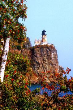 Splitrock Light House And Mountain Ash, Lake Superior, Minnesota