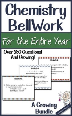 BellWork/ WarmUps Editable- For the Entire Year: Chemistry 11th Chemistry, Chemistry Classroom, High School Chemistry, Teaching Chemistry, Chemistry Lessons, Middle School Science, Science Lessons, Classroom Fun, Future Classroom