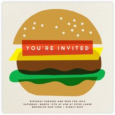 Burger Beer - Paperless Post overlayered collage- print/ logo idea