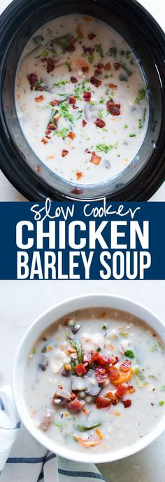 This creamy slow cooker chicken barley soup is made healthier by replacing rice or noodles with barley. It's easy, uses whole ingredients and is perfect for your crockpot. Pure comfort food! YUM!  via @my_foodstory