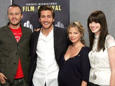 """The cast of """"Brokeback Mountain"""" pose for the press at the Toronto International Film Festival - September L to R: Heath Ledger, Jake Gyllenhaal, Michelle Williams, Anne Hathaway. Jake Gyllenhaal Oscar, Jake Gyllenhaal Heath Ledger, Jake Gyllenhaal Anne Hathaway, Jake Gyllenhaal Young, Michelle Williams Heath Ledger, Anne Hathaway Young, Oscar Winning Films, Brokeback Mountain, Ang Lee"""