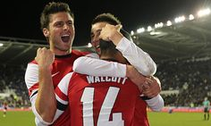 Arsenal celebrate during their 7-5 win