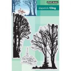 Snowy Village Slapstick/Cling stamp by Penny Black.  This set comes with 3 separate stamps – 2 clusters of trees and 1 group of buildings in a village.  Made so you can create your own village setting. Approximate measurements large tree cluster – 3″ x 4 3/4″ slightly smaller tree cluster – 2″ x 4 3/4″ …